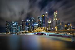 Singapore Skyline | Singapore (darkcloud photography) Tags: city longexposure nightphotography modern nikon singapore asia cityscape wideangle cbd nikkor sg sgp marinabay d810