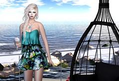 Ice Cream Afternoon (Jamee Sandalwood - Miss V SWEDEN 2015) Tags: flowers summer sun ice beach sunshine fashion female umbrella outside outdoors evening chair 500v20f formal cream sl secondlife virtual pixel blonde sundress evenin 1000v40f slfashion lavian