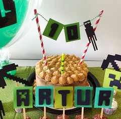 Festa Minecraft (Projetos em Papis :: BH :: Brasil) Tags: party bday caketopper decor festa toppers niver delicadeza topodebolo minecraft bailaletra