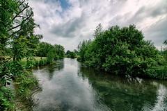 River Avon (Crisp-13) Tags: blue sky reflection tree gardens river lens elizabeth angle wide lizzie queen salisbury wiltshire avon hdr lizzy