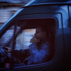 @jared_lo_fi_eye (Jared Price) Tags: street blue man paris france truck wonder drive traffic think streetphotography driver van ponder streetview recce