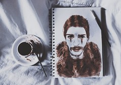 Drawing with Greek Coffee (Peter Tatsis) Tags: ocean blue autumn boy england man cold men guy london art coffee modern vintage dark painting landscape polaroid greek photography book model perfect artist gallery artistic folk grunge books exhibit minimal pale retro exotic indie mustache dope boho artifact paleblue artifacts palegrunge
