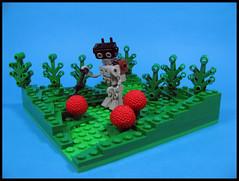 Trek-A-Bot (Karf Oohlu) Tags: landscape lego frog vignette shrubs mecha droid bot moc berrybush