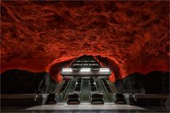 Descent To Another World (Darkelf Photography) Tags: city travel urban station rock architecture canon underground photography europe sweden stockholm transport solna maciek tunnelbana 2015 1635mm darkelf gornisiewicz 5diii descenttoanotherworld