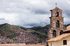 IMG_4370 (monique.timlick) Tags: cusco peru buildings architecture brick old vintage weathered bluesky clouds bright colourful canon city historical texture churches landscape view cityscape mountains hills urban green red stonework southamerica arches arch bell church