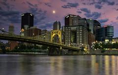 Steel City SunSet (hokie311) Tags: city longexposure bridge sunset moon reflection water reflections river downtown cityscape bridges rivers