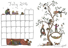 July Calendar - Colour (tanaudel) Tags: reading readers books calendar tree bookshelf dog hammock colouringin coloringin blanketfort