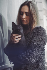 Dasha and Bubi (analog_m0nkey) Tags: portrait pet love film window girl analog cat backlit russian russianblue minoltaxd7 kodakultramax400 minoltamd5017