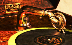 Music in the Old Days (studioferullo) Tags: old arizona music history metal contrast circle design antique tombstone historic machinery needle recordplayer round record disc phonograph