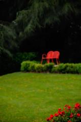 summer lawn (dotintime) Tags: summer ete season lawn grass mown green chair red outdoor scene garden dotintime meganlane