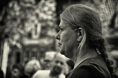 Head And Tail (Alfred Grupstra Photography) Tags: street portrait people blackandwhite bw woman hoorn crowd nederland streetphotography streetlife nl noordholland hoornsestadsfeesten