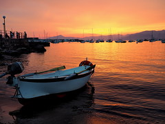Sunset in Sestri Levante (FButzi) Tags: sunset italy beach del cat lumix boat italia olympus panasonic genova omd silenzio baia sestri levante em10
