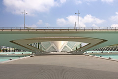 Valencia - City of Arts and Sciences 50 (Romeodesign) Tags: bridge santiago cinema eye valencia museum architecture modern spain geometry curves under perspective front symmetry calatrava dome planetarium brcke hdr imax brdige ciudaddelasartesylasciencias lhemisfric flixcandela cityofartsandsciences 550d elmuseudelescinciesprncipefelipe puentedemonteolivet