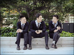 three men (teknopunk.com) Tags: mediumformat suits sitting shanghai cigarette tie smoking suit conversation chatting 6x45 youngman threemen minoltamultipro kodaknewportra400 mamiya645supertl 80f19nmamiyasn16967