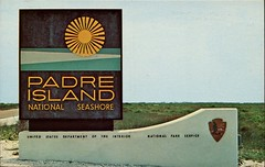 Entrance to Padre Island National Seashore, Corpus Christi TX (SwellMap) Tags: road signs monument public sign vintage advertising design 60s highway gate arch fifties message postcard suburbia entrance style kitsch retro billboard route nostalgia chrome freeway gateway billboards americana 50s lettering welcome roadside populuxe sixties babyboomer consumer coldwar midcentury spaceage atomicage archwaypc