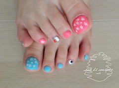 Star Map (cono di conifere) Tags: pink white silver star aqua nail swarovski nailart treatment pedi gelnail