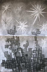 """Space Station""--A Charcoal Drawing by Daniel Balter (danielkbalter@gmail.com) Tags: art drawing sketchbook spacestation imagination charcoaldrawing creativedrawing danielbalter"