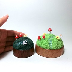 Fairy garden pincushion (raycious) Tags: wood red flower cute green mushroom forest woodland garden miniature wooden magic rustic waldorf decoration australia mini brisbane fairy earthy fantasy fungus kawaii toadstool pincushion etsy recycle decor magical turning polkadot woodcraft woodturning minitual