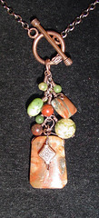 fringedfocal (AutEvDesigns) Tags: necklace fringe earthy copper pendant gemstonecluster