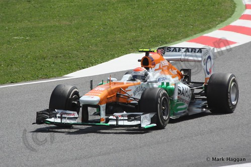 Adrian Sutil in his Force India in the 2013 Spanish Grand Prix