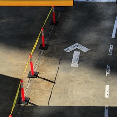 Yellow tape and white arrow... (Beeke...) Tags: signs abstract streets directions trafic vanagram
