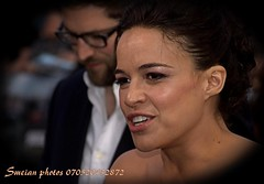 Michelle Rodriguez (iron_smyth48) Tags: red portrait woman white celebrity film smile face female hair carpet star glamour eyes dress event actress premiere celeb