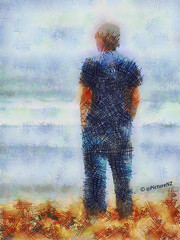 Contemplating the Future (Steve Taylor (Photography)) Tags: ocean blue sea brown man art misty standing coast waves pacific fuzzy tshirt jeans copper coastline bracken hazy globalwarming crosshatch handsinpockets heathaze lookingtosea