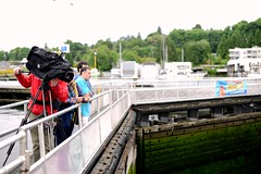 May 15, 2013 - TV crews came to capture the action (WSDOT) Tags: bridge construction tugboat ballard th kgm ballardlocks floatingbridge sr520 kiewit hirammchittendenlocks wsdot washingtonstatedepartmentoftransportation