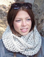 tweed cowl scarf (Ava Girl Designs) Tags: scarf infinity aspen eternity tweed neutral ecru cowl avagirldesingns