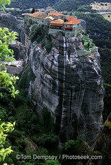 Varlaam Monastery, Meteora, Greece (wintermute_) Tags: tower architecture weird high religion structure safety erosion greece perch isolation awe defensive resist pinnacle tileroof atop greekorthodoxchurch jut kastraki eirie varlaammonasterymeteoragre hellenicculture conglomeraterockgeology varlaammonasterymeteoragreece