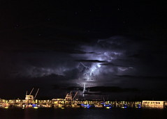 Mulligans Lightning Show (KM Preston Photography) Tags: storm night clouds stars pier nightscape thunderstorm nightsky nightscene lightning thunder mulligans sebastianfl lightningstorm flickrmostinteresting yahooweather sebastianriver kmprestonphotography cloudsstormssunsetssunrises