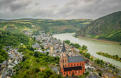 Sankt Goar on the Rhine River in Germany (mbell1975) Tags: mist church rain river germany deutschland europa europe day cloudy kirche chapel rainy german valley rhine rhein deutsch sankt kirke kapelle goar