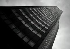 gotham tower III (martin streichardt) Tags: sky blackandwhite bw tower architecture clouds germany dark saxony leipzig tall gotham uniriese cityhochhaus panoramatower