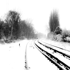 Snow Abstractions 2 (ChrisdMRF) Tags: uk greatbritain blackandwhite bw snow abstract tree london monochrome mono blackwhite britishisles unitedkingdom railway gb highkey barnes railwaytracks leadinglines 2013