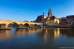 Midday shooting (Miroslav Petrasko (hdrshooter.com)) Tags: camera old city travel bridge houses color reflection tower classic church water stone digital canon river germany lens effects photography eos photo blog high europe dynamic image software processing multiple 5d imaging dslr regensburg range hdr hdri miroslav exposures bracketing 1635 photographyblog photoglog theodevil hdrshooter petrasko miroslavpetrasko hdrshooternet