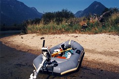 Avon beached on Widgeon Creek Sept 02 1993 (D70) Tags: lake canada mountains creek hp bc johnson 1993 inflatable 02 waters beached pitt sept avon tidal outboard widgeon 2hp
