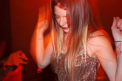 Village East (Gary Kinsman) Tags: fujifilmfinepixx100 london shoreditch ec2 greateasternstreet villageeast club clubbing eastlondon eastend dance dancing woman tattoo slowsync slowsyncflash movement motion motionblur night late fujix100 2013 people person