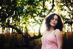 just breathe (Christine Cueto) Tags: pink light portrait sun tree nature girl beauty hair golden close young curly hour serene