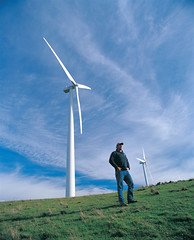 Wind farm and farmer (Beyond Coal and Gas) Tags: wind farmers renewableenergy