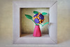 Miniature Oribana 'playful Mood' In Origami Shadowbox Frame