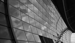 expo pavilion [EXPLORE 2013-09-18] (pix-4-2-day) Tags: german expo pavilion deutscher pavillon 2000 hannover hanover glas glass sky reflection spiegelung himmel wolken clouds curve geschwungen fassade facade front black white schwarzweis pix42day explore explored