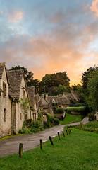 Sunset over Arlington Row, Cotswolds (Justine Kibler) Tags: sunset england arlington cottage cotswolds row bibury