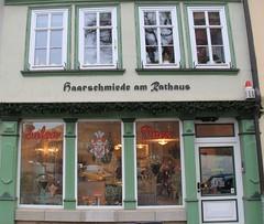 Hair blacksmiths:( (:Linda:) Tags: germany four town pillar thuringia hairdresser pilaster arnstadt sule funnylanguage