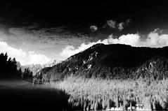 Fondali montani (bebo82) Tags: blackandwhite bw mountain lake reflection clouds nuvole pentax monte biancoenero riflesso fusine laghi pentaxk20d pentaxk20
