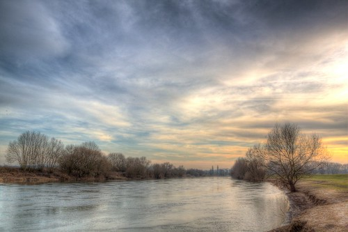 Weser Winter Sunset