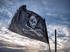 Pirate flag (DC159569-HDR(1)_Default 25.0mm iso200 f2.0 1_4000) (Mel Stephens) Tags: uk winter cloud geotagged lumix coast scotland december harbour angus f14 14 olympus best panasonic coastal gps arbroath hdr omd 25mm em1 m43 q4 2013 mirrorless micro43 microfourthirds 201312 20131215
