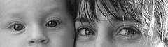 Des regards pour quels message ? (JsuLaroche) Tags: yeux protrait enfant visage regard noirblanc mere