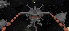 TR Destroyer Launching Parasite FTRs (EliteGuard01) Tags: war lego space ships destroyer trap surpriseattack ldd starfighter legodigitaldesigner starbattle railguns terranrepublic parasitefighters