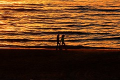 walking on the beach in the golden hours - Explored 24.02.14 (Lior. L) Tags: travel winter light sunset red s