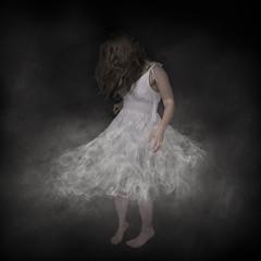 Smoke Dress (Willers1404) Tags: portrait white black girl beautiful fog photoshop dance dress background smoke twirl smoky wisp